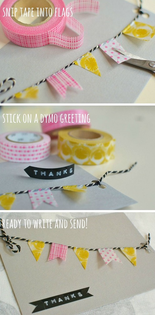 Washi tape and string birthday banner card